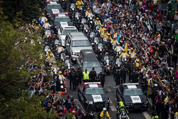 The funeral procession is seen during the transfer of the remains of Mexican singer Juan Gabriel.