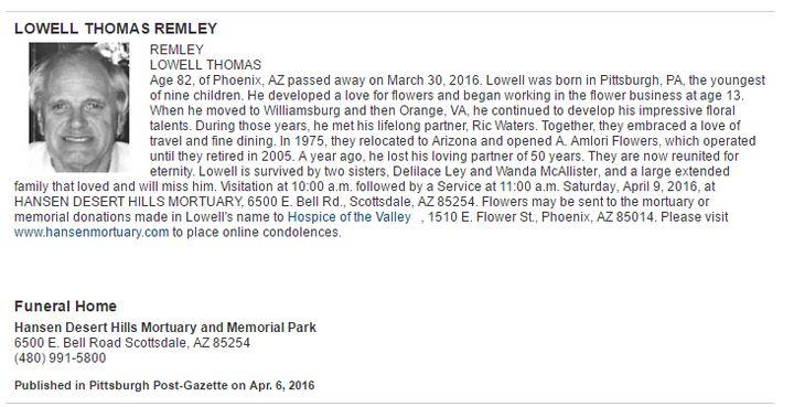 Lowell Remley Obituary via legacy.com