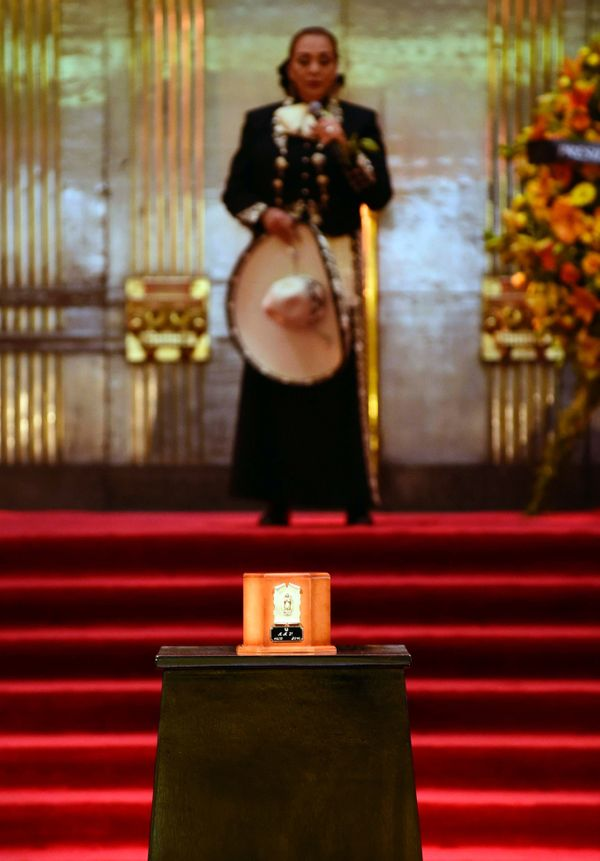 The urn containing the remains of Mexico's late Latin music legend Juan Gabriel is seen at Mexico City's ornate Palace of Fin