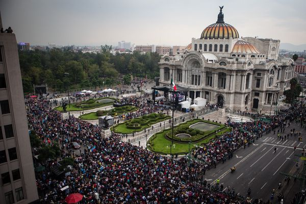 The Palacio de Bellas Artes is seen during the transfer of the remains of Mexican singer Juan Gabriel.