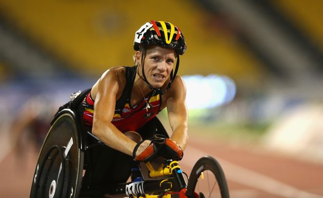 Marieke Vervoort won a gold medal in the 100m sprint and silver in 200m in the T52 class in the London...