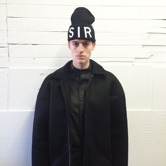 Model Rain Dove wears Sir New York.