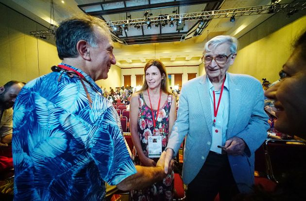 Retired Harvard University professor E.O. Wilson, right, sat down with The Huffington Post andHawaii...