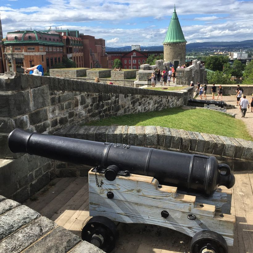 Dozens of cannons line the 4 kilometers of walls surrounding Old Quebec.