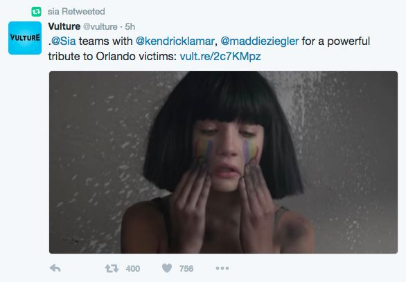 Sia's Emotional Video Tribute To Victims Of Orlando