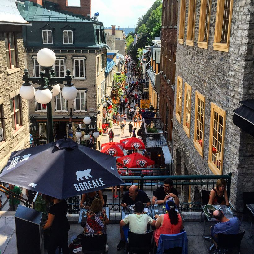 Le Petit Champlain is entered through terraced cafes from the upper town.