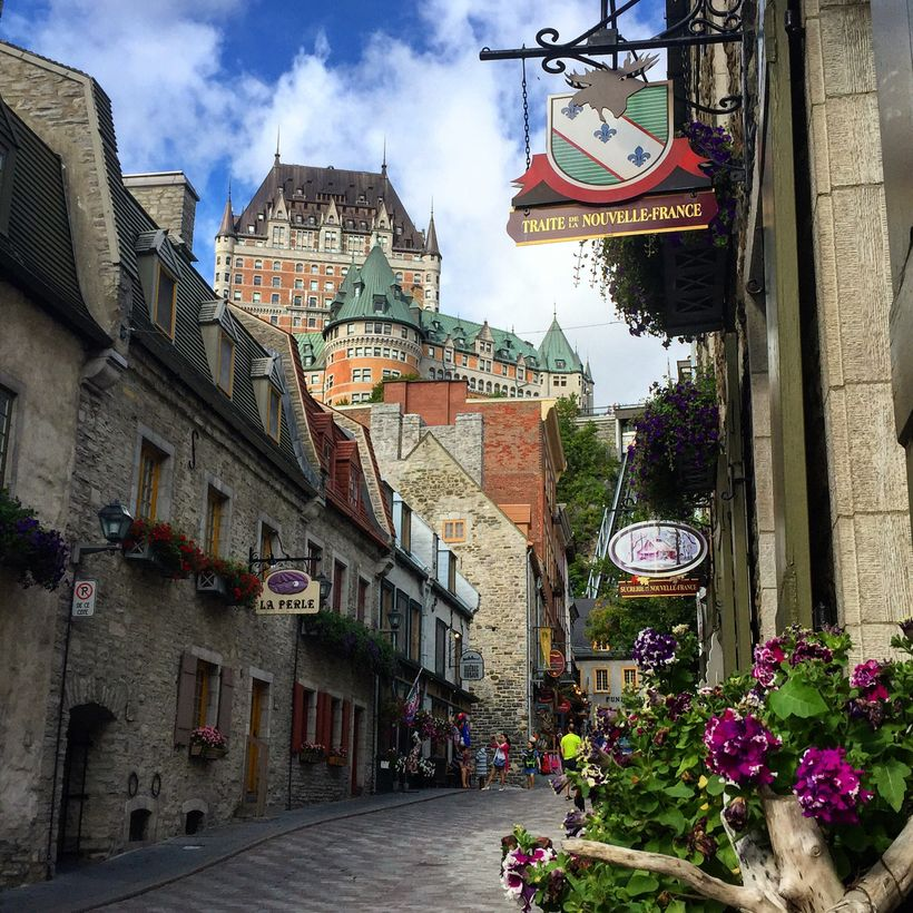 Chateau Frontenac looks like a castle hovering about a European village.