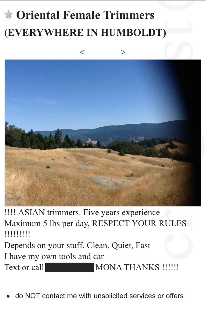 """A Craigslist ad offers """"Oriental female trimmers"""" in Humboldt County.Credit:"""