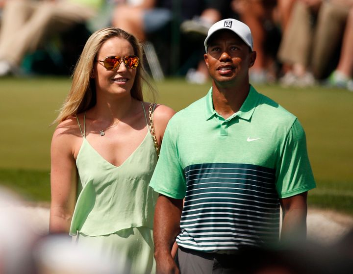 Lindsey Vonn supports then-boyfriend Tiger Woods before the 2015 Masters at Augusta National Golf Course.