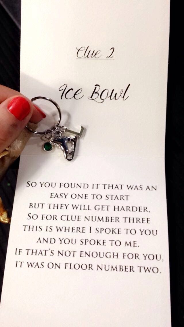 Each clue Lindsay received also came with a little gift. The first gift was a keychain featuring an 'L,' an ice skate and Lindsay's birthstone.