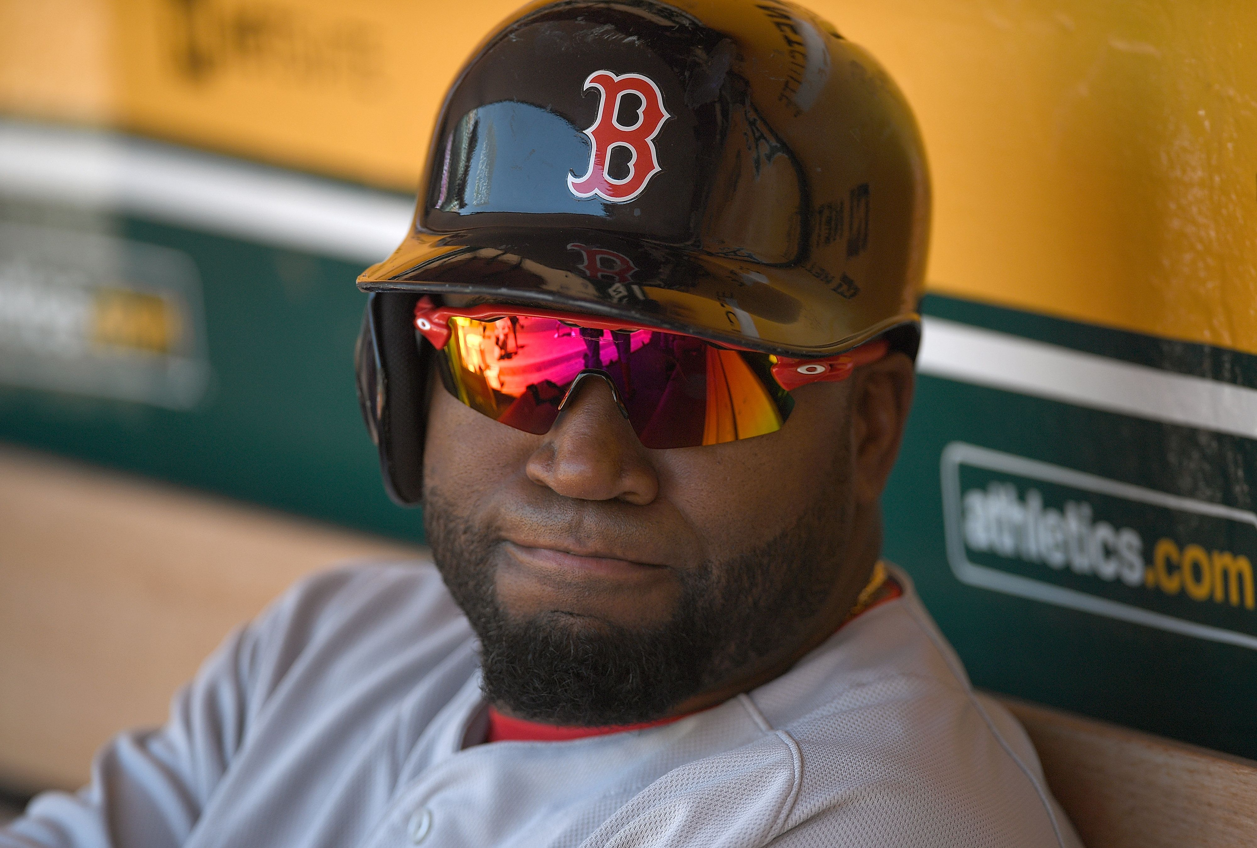 OAKLAND, CA - SEPTEMBER 04:  David Ortiz #34 of the Boston Red Sox looks on from the dugout prior to the start of the game against the Oakland Athletics at Oakland-Alameda County Coliseum on September 4, 2016 in Oakland, California.  (Photo by Thearon W. Henderson/Getty Images)