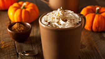 Homemade Pumpkin Spice Latte with Cream and Cinnamon