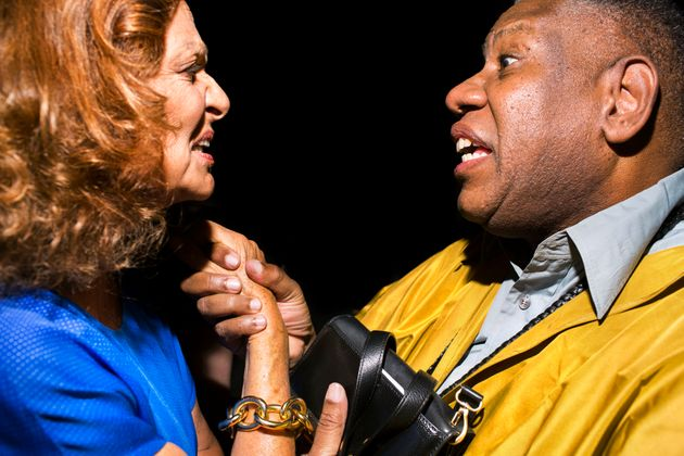 Scenes from New York Fashion Week -- Diane von Furstenberg and Andre Leon Talley at Lincoln Center...