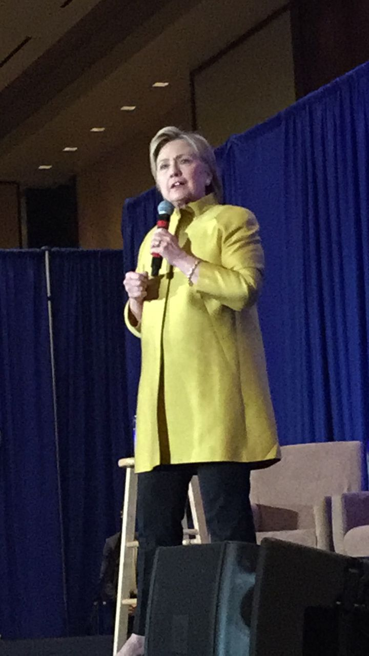 <i>Hillary Clinton speaks at fundraising event attended by the author.</i>