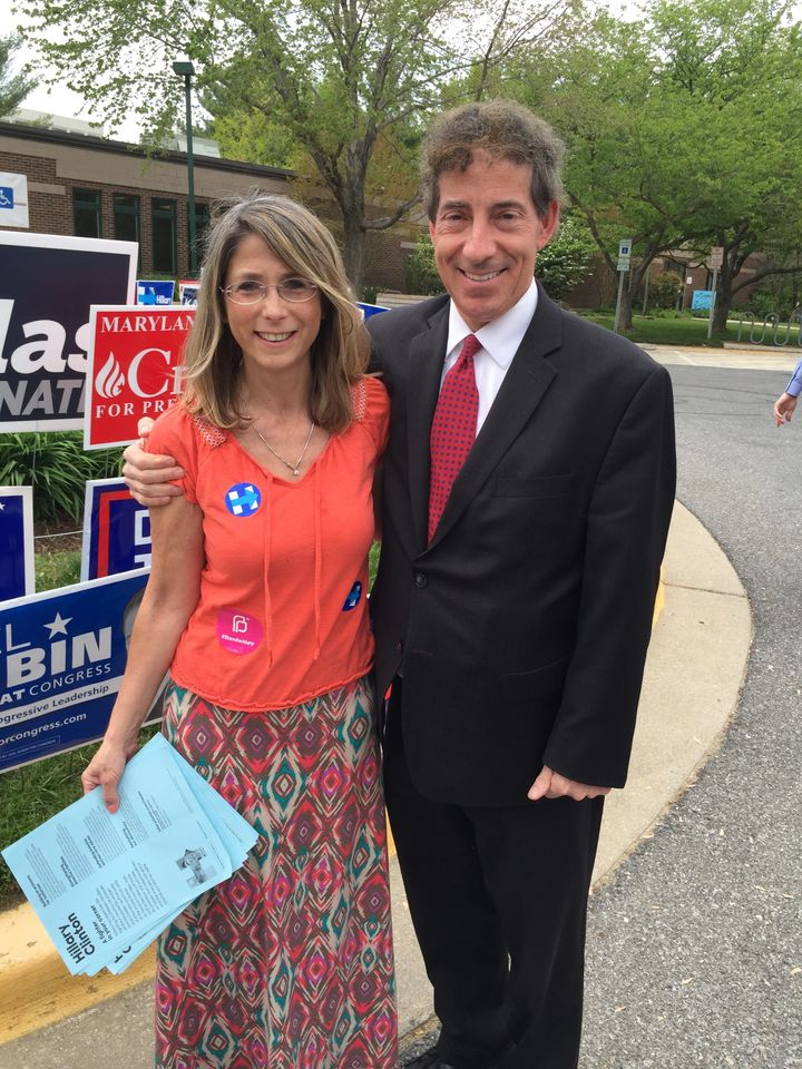 <i>The author handing out literature at a polling place during primary early voting. &nbsp;To her left is Jamie Raskin, Democratic candidate for the US Congress.</i>