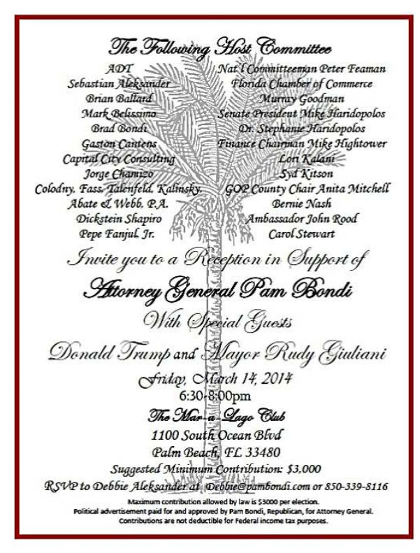 The invitation to Donald Trump's March 14, 2014, fundraiser for Florida Attorney General Pam Bondi.