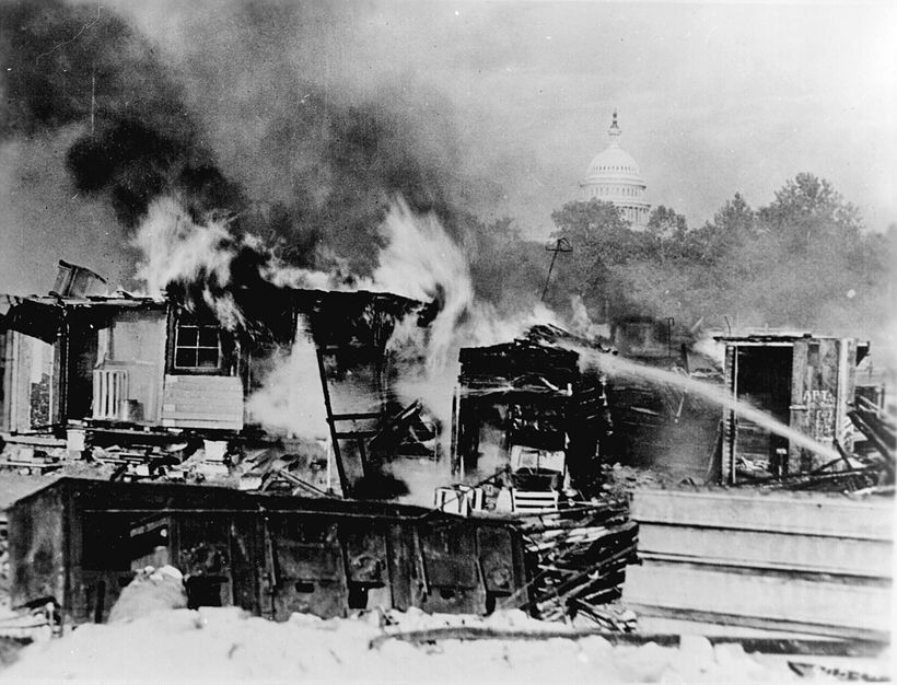"""The shanties of the """"Bonus Army"""" burning after the assault."""