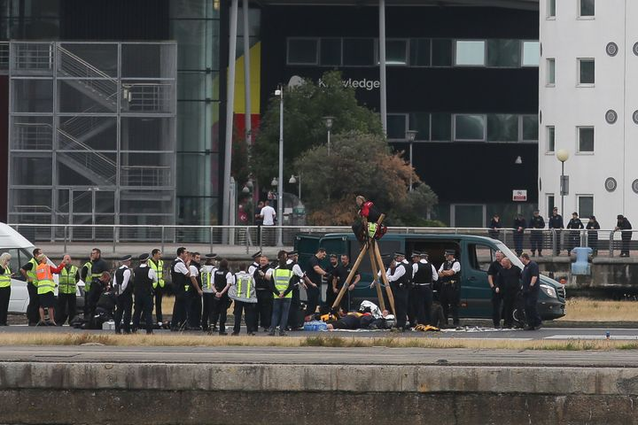 Flights at London City Airport were delayed after Black Lives Matter protesters crossed the dock and 'occupied' the runway.