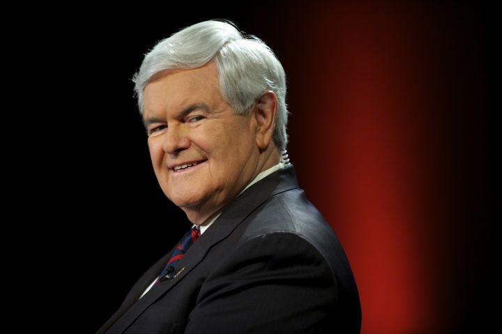 Newt Gingrich coughed as he and Fox News host Sean Hannity criticized Democratic presidential candidate Hillary Clinton for c