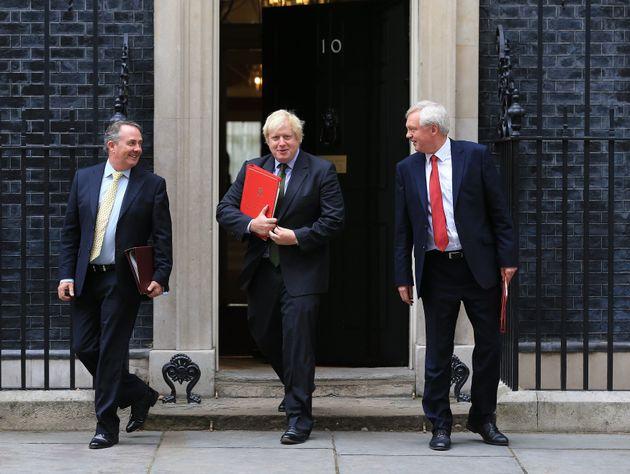 International Trade Secretary Liam Fox, Foreign Secretary Boris Johnson and Brexit Secretary David Davis...