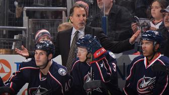 COLUMBUS, OH - JANUARY 19: Head Coach John Tortorella of the Columbus Blue Jackets talks to his players during the second period of a game against the Washington Capitals on January 19, 2016 at Nationwide Arena in Columbus, Ohio.  (Photo by Jamie Sabau/NHLI via Getty Images)