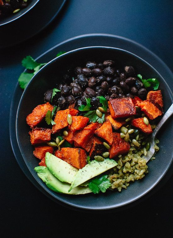 """<strong>Get the <a href=""""http://cookieandkate.com/2015/vegan-sweet-potato-green-rice-burrito-bowls/"""" target=""""_blank"""">Spicy Sw"""