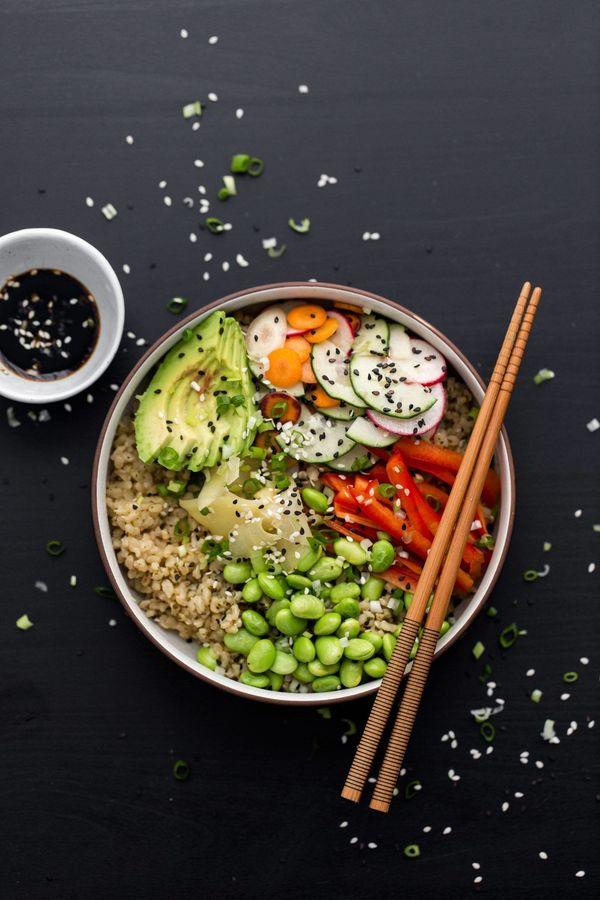 "<strong>Get the <a href=""http://naturallyella.com/vegetarian-sushi-bowl/"" target=""_blank"">Vegetarian Sushi Bowl recipe</a>&nb"