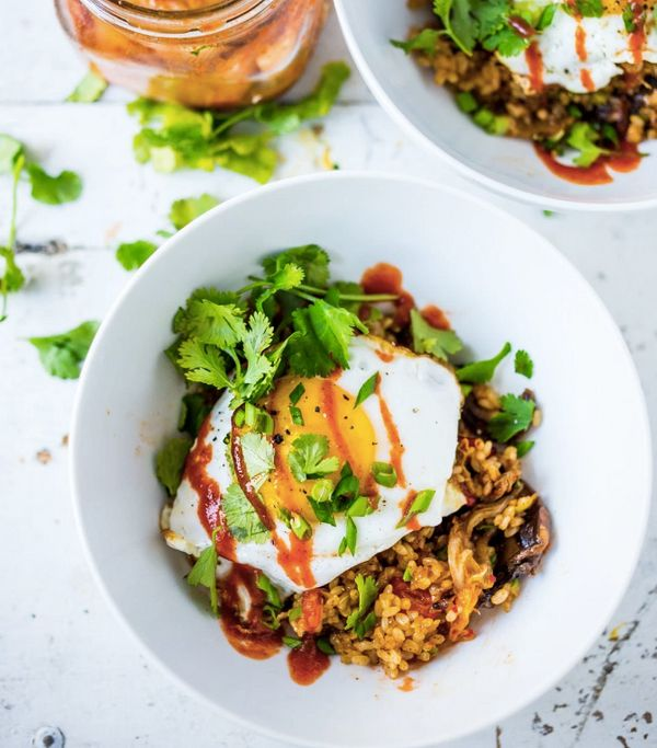 """<strong>Get the <a href=""""http://www.feastingathome.com/kimchi-fried-rice/"""" target=""""_blank"""">Kimchi Rice with Fried Egg recipe<"""