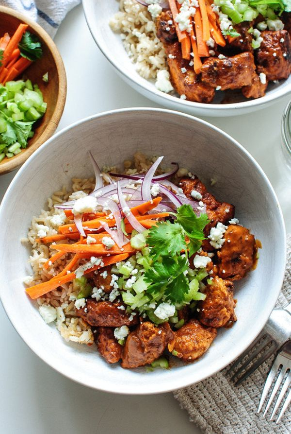 "<strong>Get the <a href=""http://bevcooks.com/2015/10/buffalo-chicken-bowls/"" target=""_blank"">Buffalo Chicken Bowl recipe</a>&"