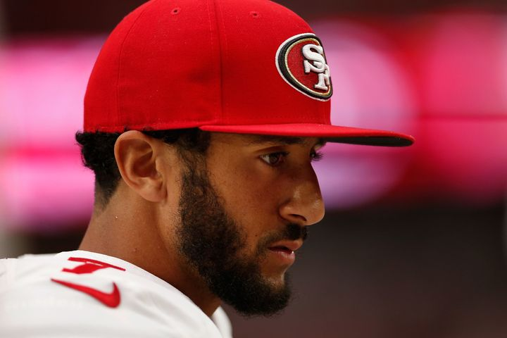 Colin Kaepernick refuses to stand for the playing of the national anthem.