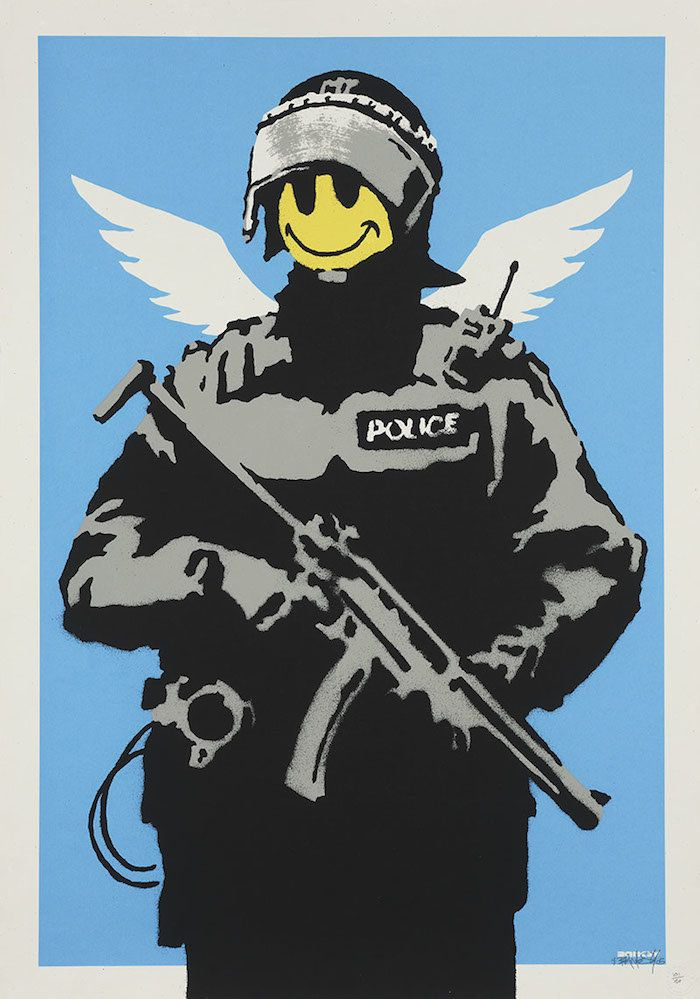 "Banksy, ""Flying Copper,"" 2004, courtesy of Hexagon Gallery"