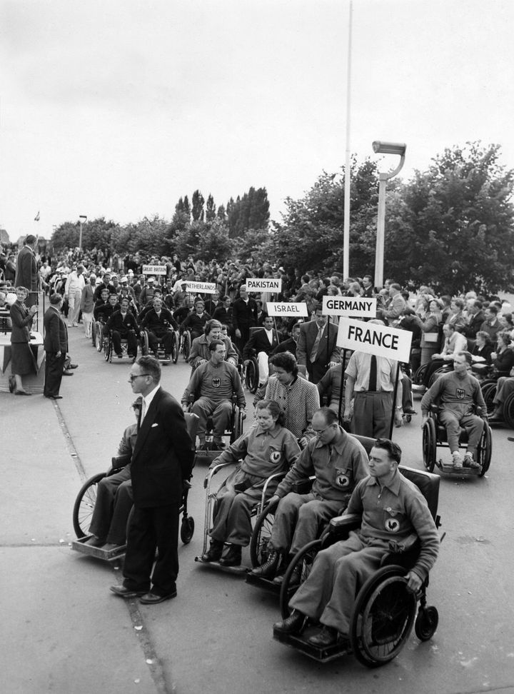 Teams assemble to compete in the Stoke Mandeville Games.