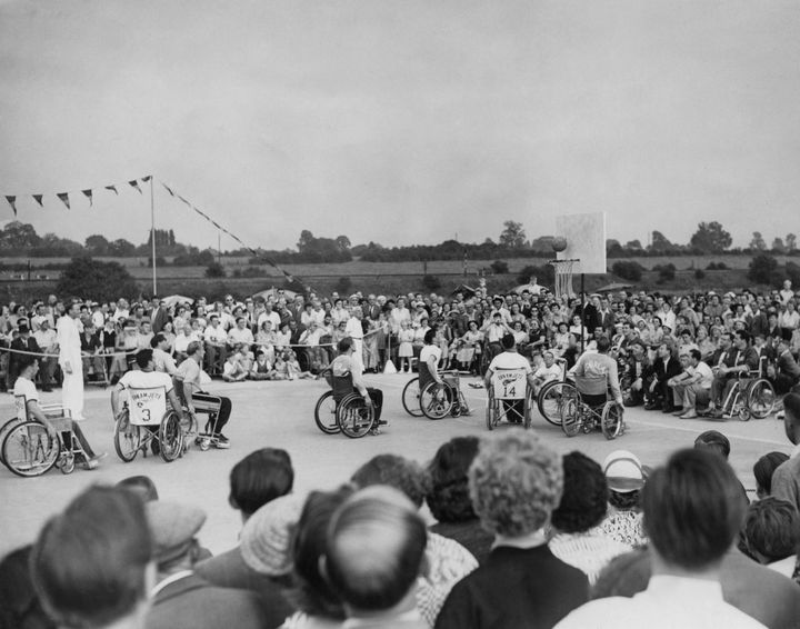 An international basketball match between the USA and the Netherlands at Stoke Mandeville Hospital in 1955.