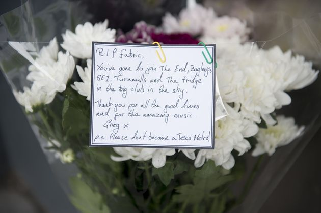 Flowers left outside Fabric nightclub following its closure which London Mayor Sadiq Khan said was