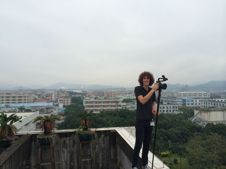"Filmmaker Andrew Morgan in Shenzhen, China, during the production of ""The True Cost"" in summer 2014."