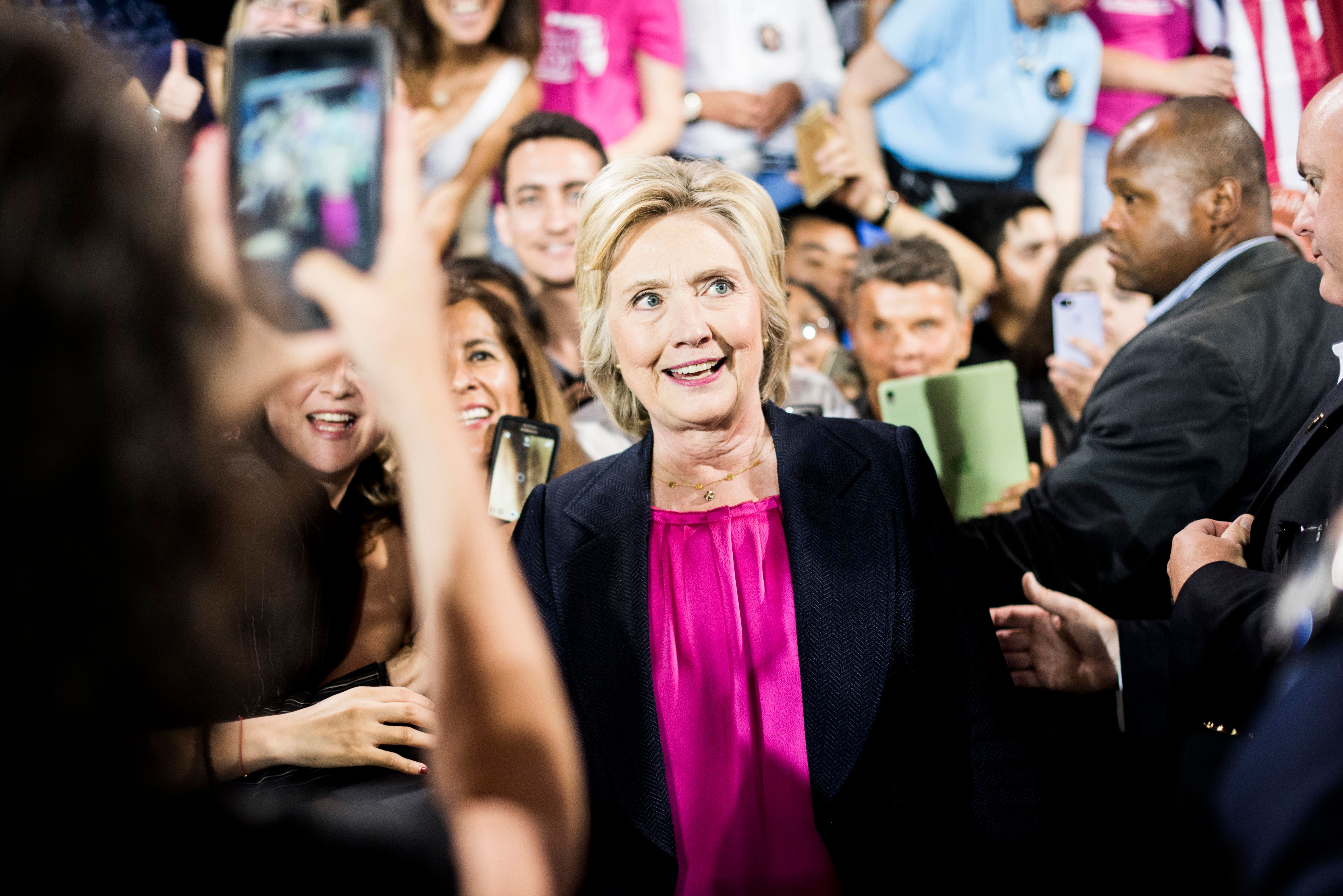 TAMPA, FL - Democratic Nominee for President of the United States former Secretary of State Hillary Clinton speaks to and meets Florida voters during a rally in Tampa, Florida on Tuesday September 6, 2016. (Photo by Melina Mara/The Washington Post via Getty Images)