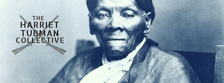 Image Description: Image of Black Disabled Freedom Fighter, Harriet Tubman, looking resolutely at the camera with a stern set chin. Harriet Tubman is wearing an old fashioned shirt and jacket and the filter on the photo is a deep, dramatic blue hues. You can see two muskets crossed and the name of our group The Harriet Tubman Collective on the left hand side of the photo.