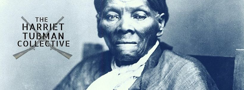 Image Description: Image of Black Disabled Freedom Fighter, Harriet Tubman, looking resolutely at the camera with a stern set