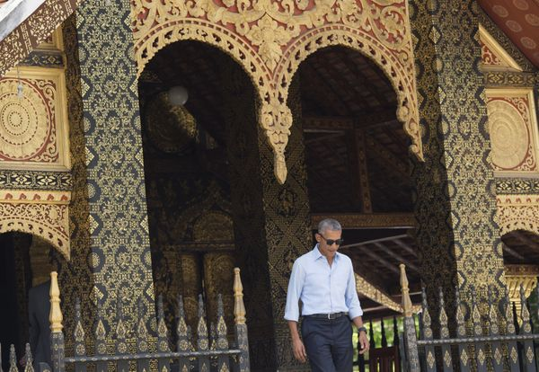 Obama leaves the Wat Xieng Thong Buddhist Temple.