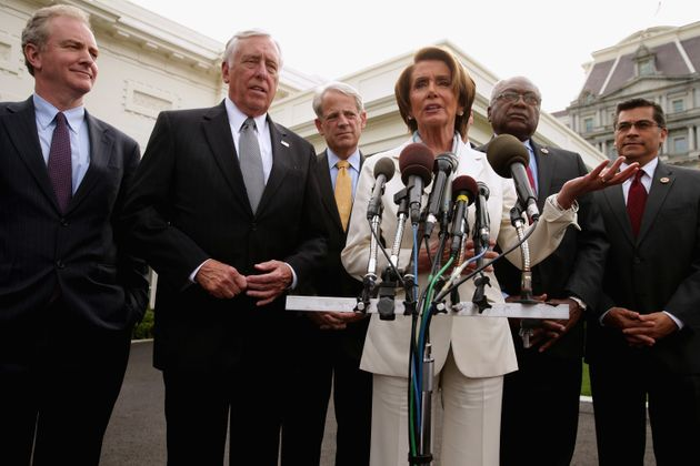 Nancy Pelosi, center right, was the first female Speaker of the House. She served in the role from 2007...