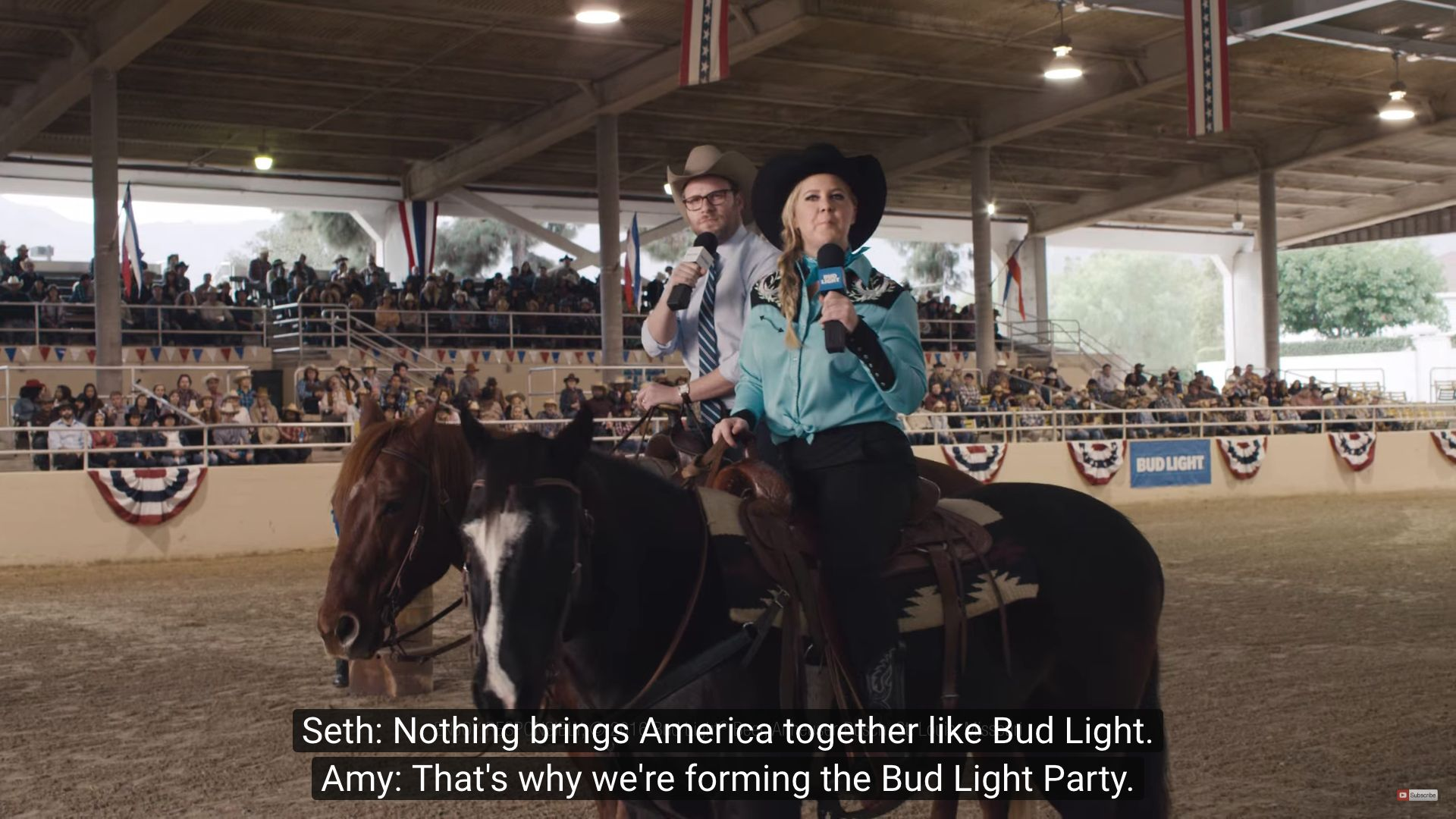 "Amy Schumer and Seth Rogen are the faces of the ""Bud Light Party"" ad campaign."