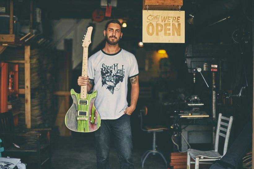 Nick Pourfard, Founder & Designer of Prisma Guitars, at his Sunset District workshop, San Francisco.