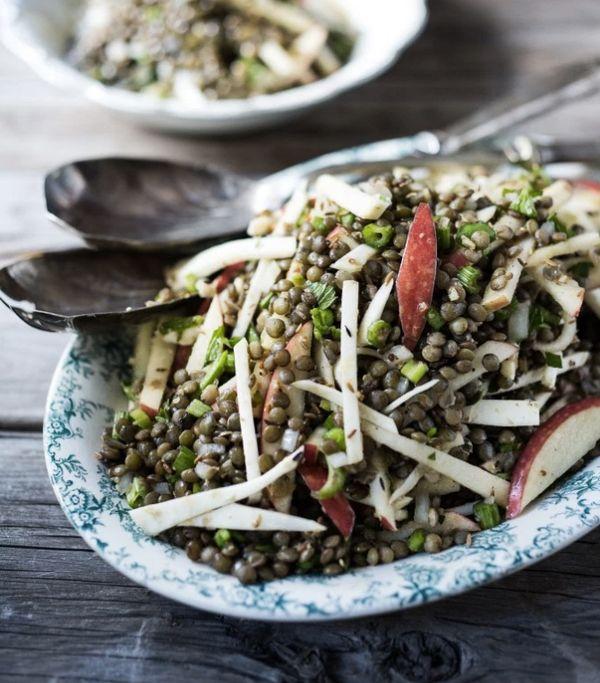 "<strong>Get the <a href=""http://www.feastingathome.com/celeriac-lentil-and-apple-salad-w-cumin-seed-dressing/"" target=""_blank"