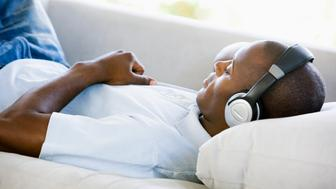 Man listening to music and resting