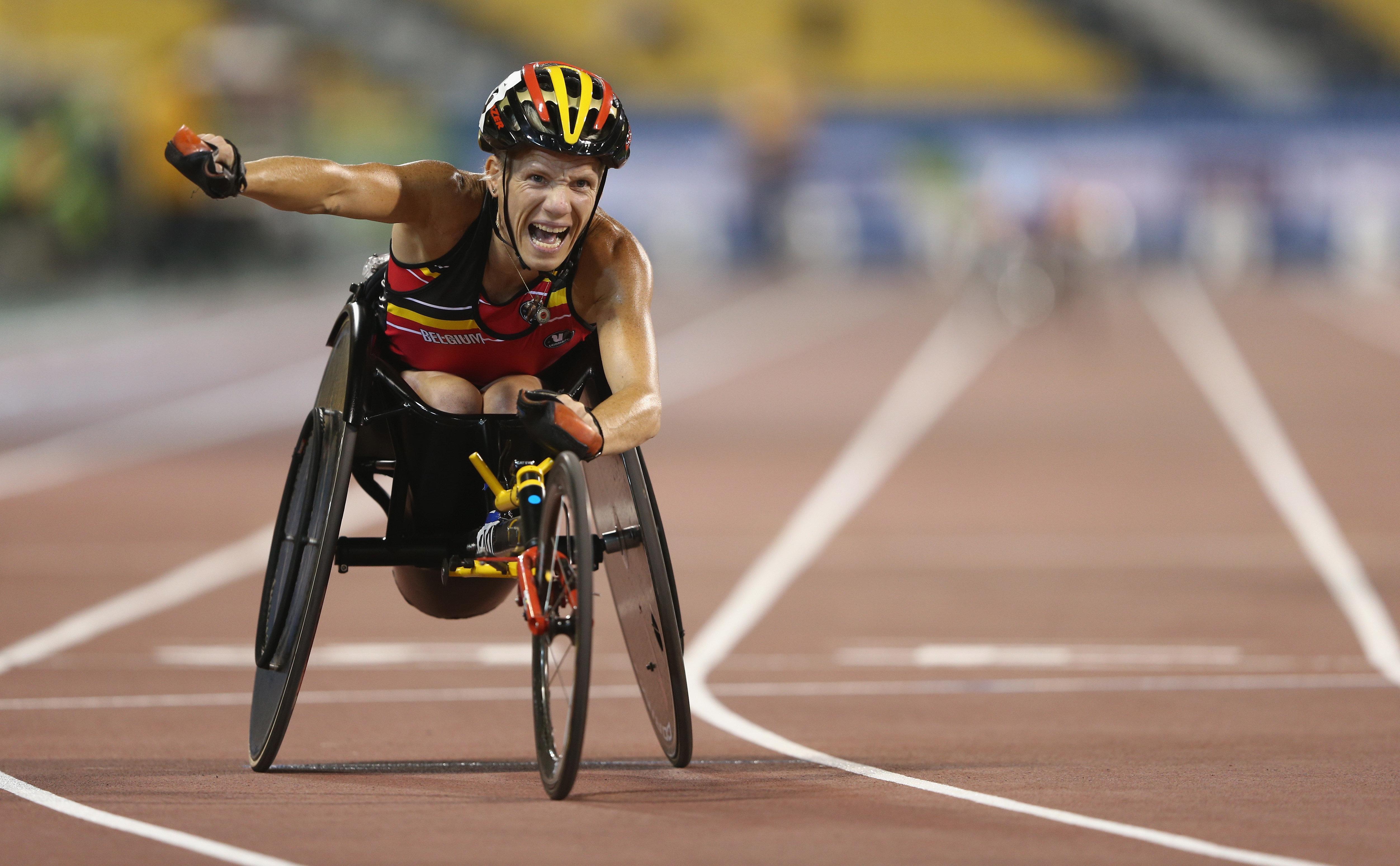 Marieke Vervoort of Belgium celebrates winning the women's 200m T52 final duringthe IPC Athletics World Championships i