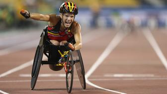 DOHA, QATAR - OCTOBER 23:  Marieke Vervoort of Belgium celebrates winning the women's 200m T52 final during the Evening Session on Day Two of the IPC Athletics World Championships at Suhaim Bin Hamad Stadium on October 23, 2015 in Doha, Qatar.  (Photo by Warren Little/Getty Images)