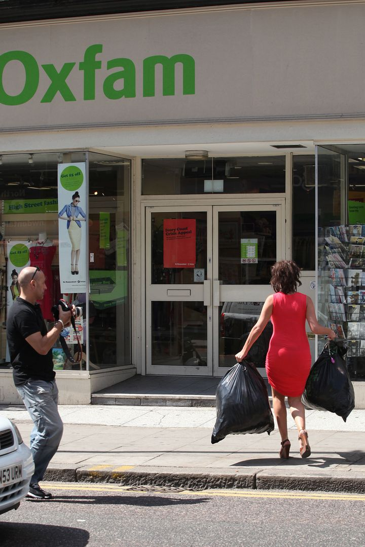 Welsh model Imogen Thomas sighted leaving her home to donate some clothes to Oxfam, before shopping at Tesco on June 3, 2011,