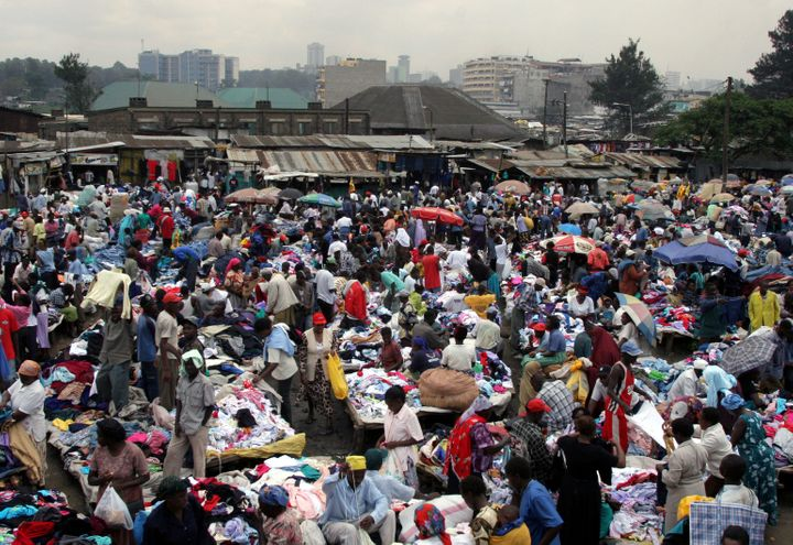 Kenyans pick through secondhand clothes at the vast Gikomba street market.