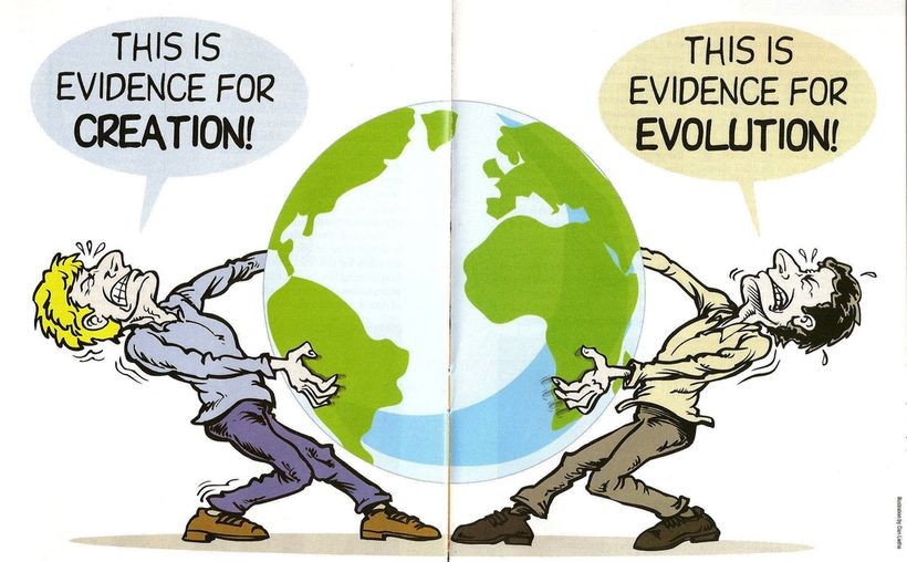 This drawing suggests that there's as much evidence for creationism as for evolution. That's stupid. Also notice that Creatio