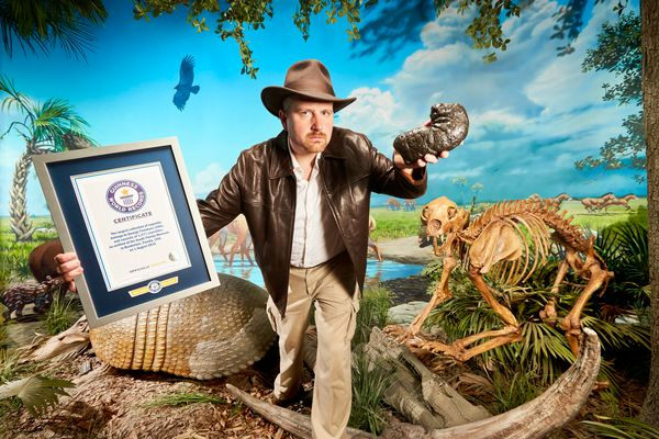 The largest collection of coprolite -- fossilized poop -- belongs to George Frandsen of Bradenton, Florida. He has 1,277 piec
